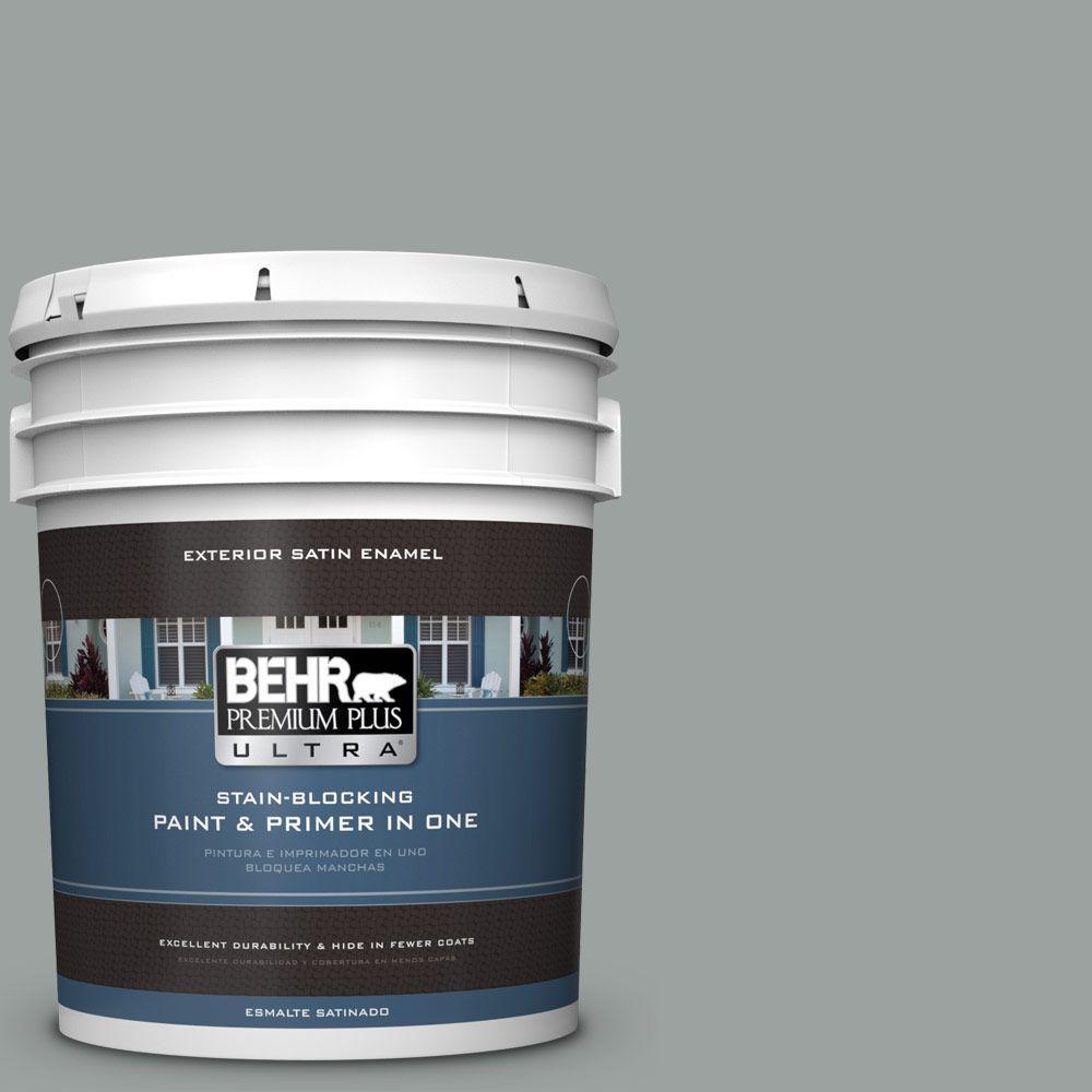 BEHR Premium Plus Ultra 5-gal. #PPU11-16 Brampton Gray Satin Enamel Exterior Paint