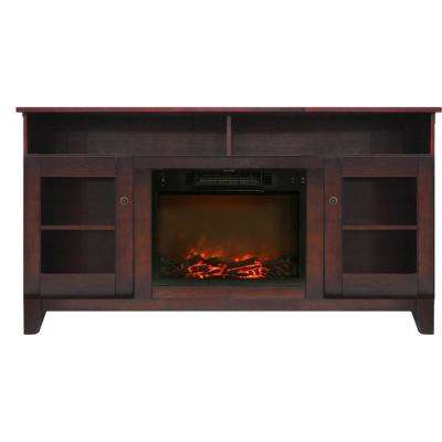 Glenwood 59 in. Electric Fireplace in Mahogany with Entertainment Stand and Charred Log Display