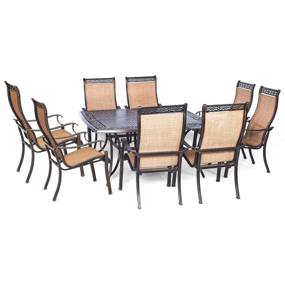 Hanover manor 9 piece square patio dining set mandn9pcsq for Square dinette sets