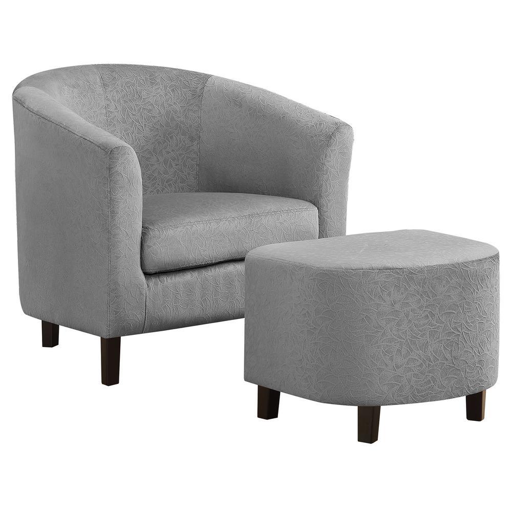 Light Grey Floral Velvet Accent Chair (2-Piece)