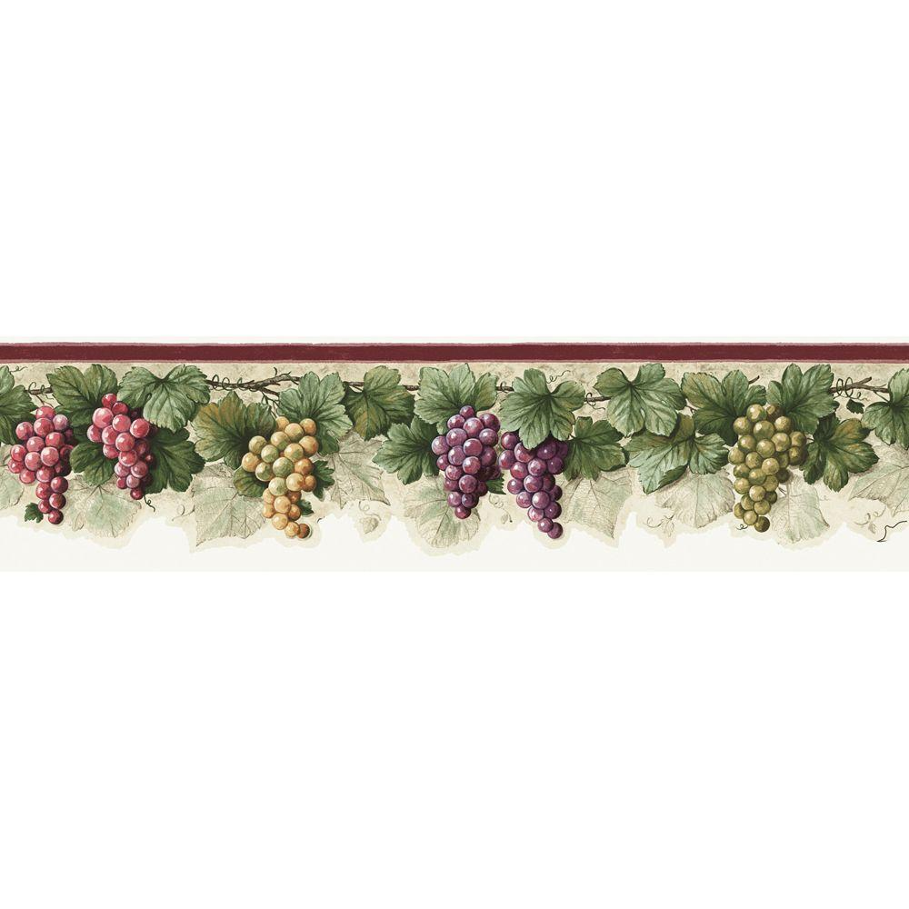 The Wallpaper Company 6 in. x 15 ft. Purple Jewel Tone Grape Border
