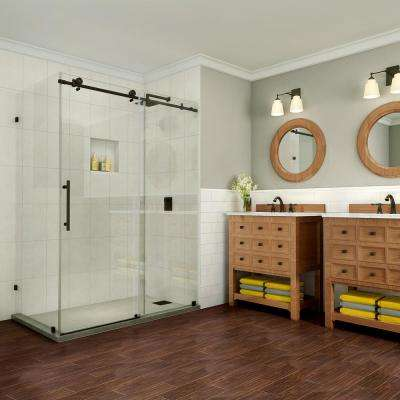 Coraline Pure 60 in. x 33.875 in. x 76 in. Completely Frameless Sliding Shower Enclosure in Oil Rubbed Bronze