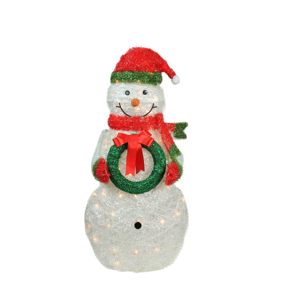 christmas lighted tinsel snowman outdoor decoration with wreath