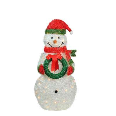 38 in christmas lighted tinsel snowman outdoor decoration with wreath