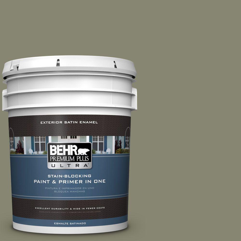 BEHR Premium Plus Ultra 5-gal. #400F-6 Grasshopper Wing Satin Enamel Exterior Paint