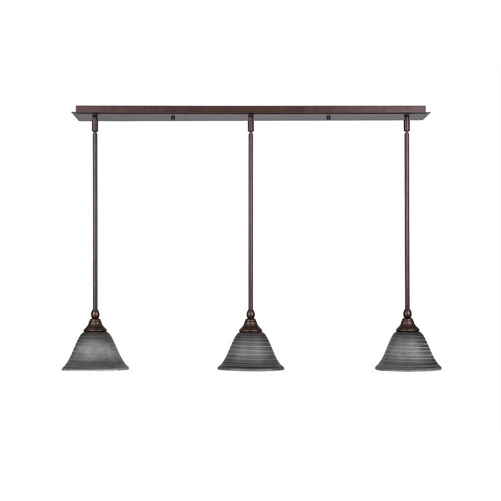 3-Light Bronze Island Pendant with Charcoal Marbleized Glass