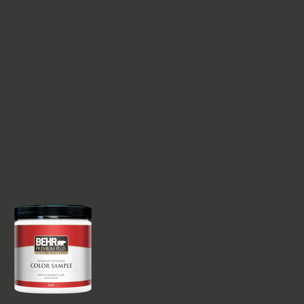 BEHR PREMIUM PLUS 8 oz. Home Decorators Collection #HDC-MD-04 Totally Black Flat Interior/Exterior Paint & Primer Sample