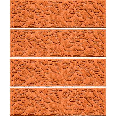 Orange 8.5 in. x 30 in. Fall Day Stair Tread Cover (Set of 4)