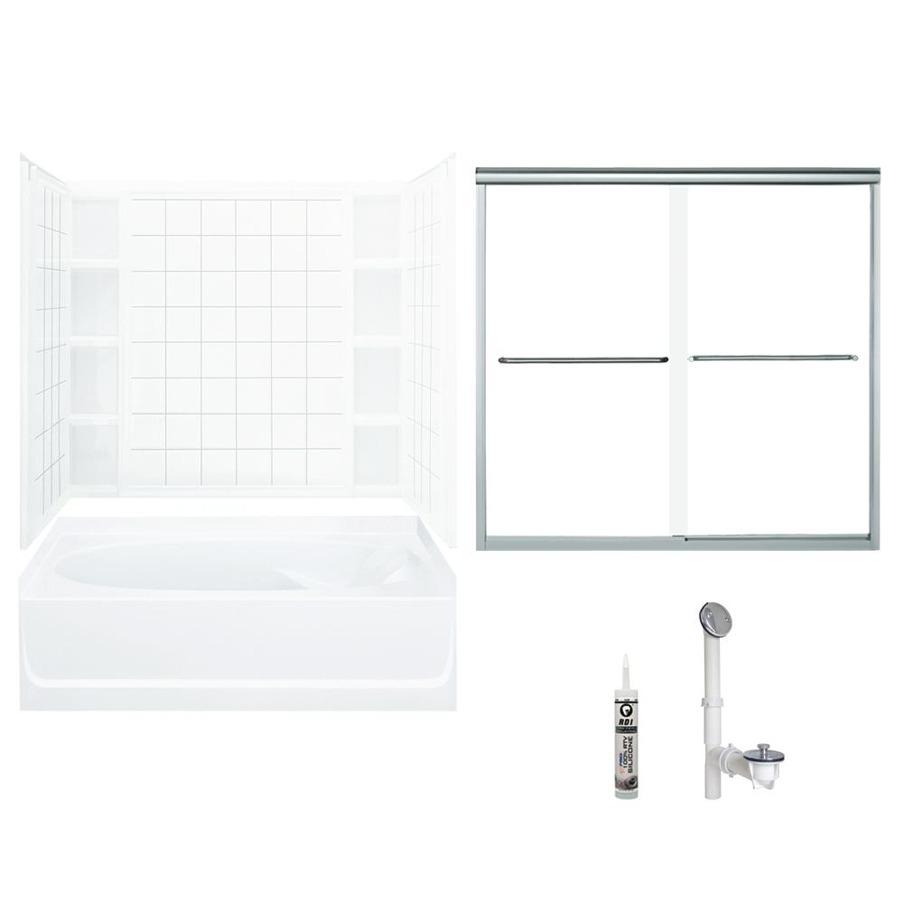 Merveilleux STERLING. Ensemble 42 In. X 60 In. X 70.25 In. Bath And Shower Kit With  Left Hand Drain In White And Chrome