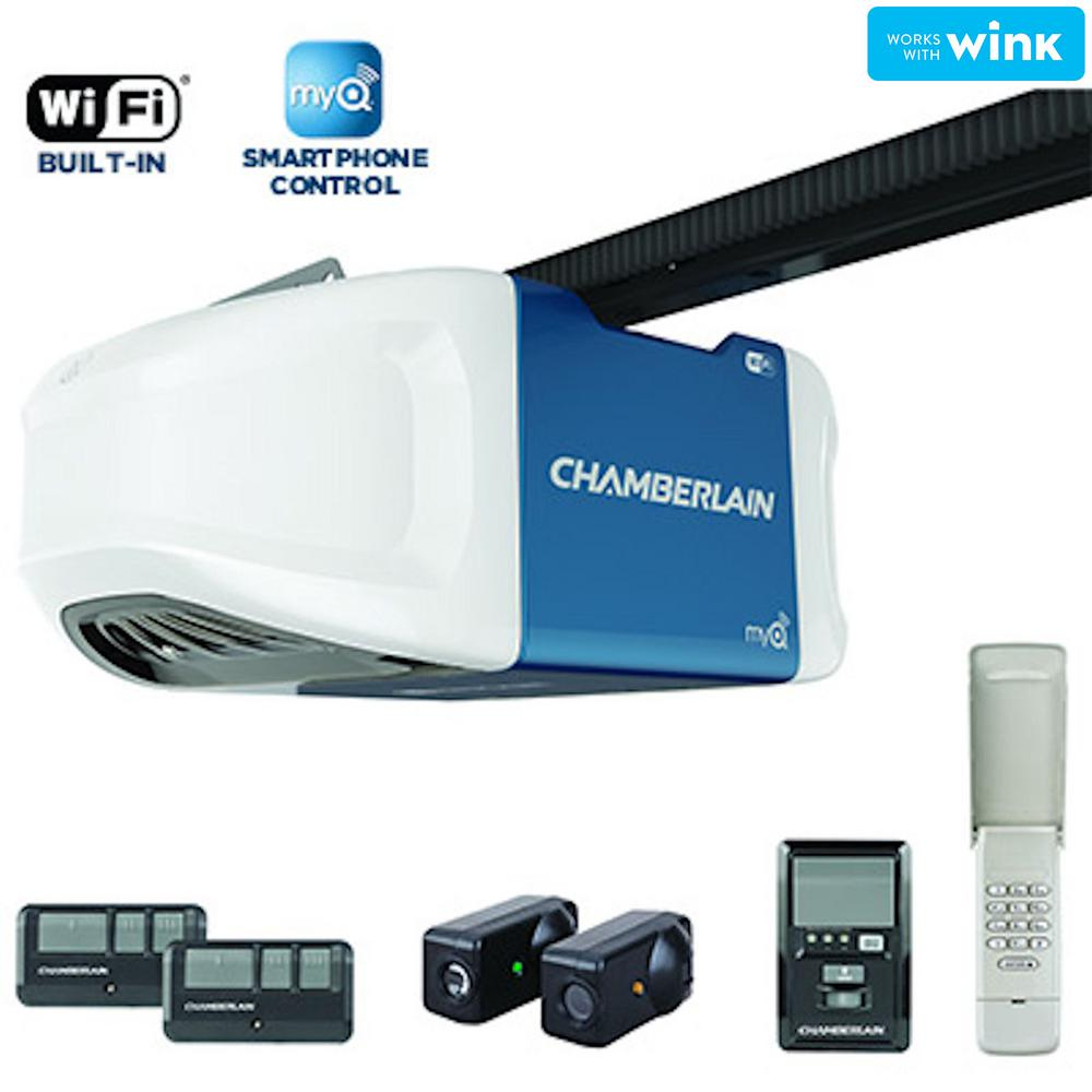 Chamberlain 34 hp smartphone controlled ultra quiet and strong chamberlain 34 hp smartphone controlled ultra quiet and strong belt drive garage door opener with plus lifting power b750 the home depot rubansaba
