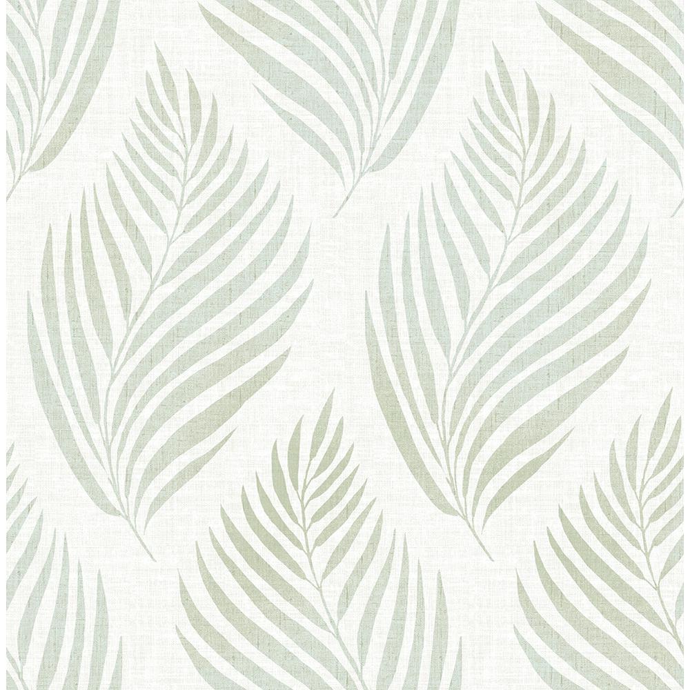Patrice Green Linen Leaf Wallpaper Sample