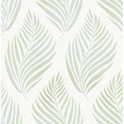 Patrice Green Linen Leaf Paper Strippable Roll (Covers 56.4 sq. ft.)