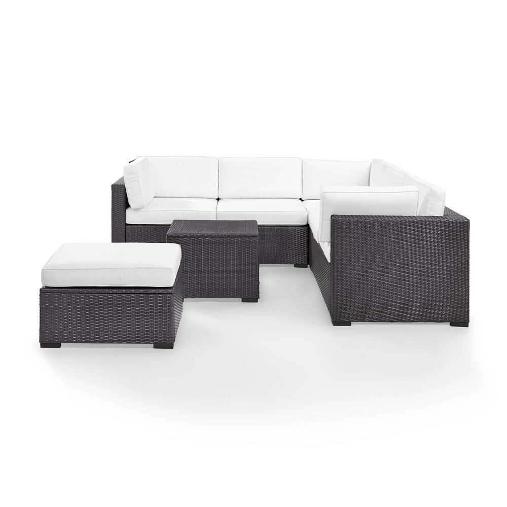 Awesome Crosley Biscayne 6 Person Wicker Outdoor Ottoman Seating Set With White Cushions 2 Loveseats 1 Corner Chair Coffee Table Ibusinesslaw Wood Chair Design Ideas Ibusinesslaworg