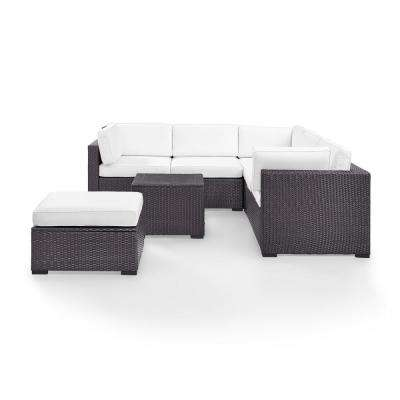 Biscayne 6-Person Wicker Outdoor Ottoman Seating Set with White Cushions 2-Loveseats, 1-Corner Chair, Coffee Table