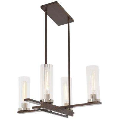 Maddox Roe 4-Light Iron Ore and Gold Dust Highlights Chandelier with Clear Ribbed Shade