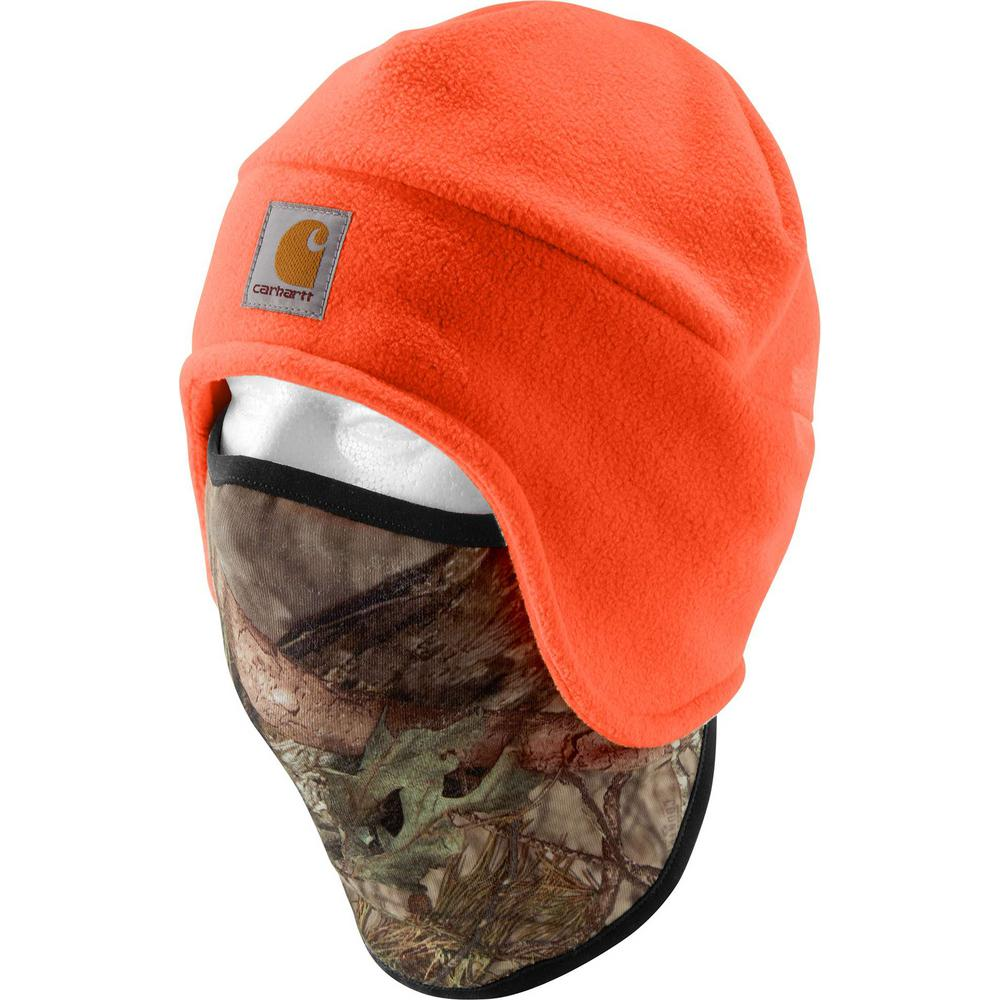 2429558e5 Carhartt Men's OFA Hunter Orange/Break-up Country Polyester Fleece 2 in 1  Headwear