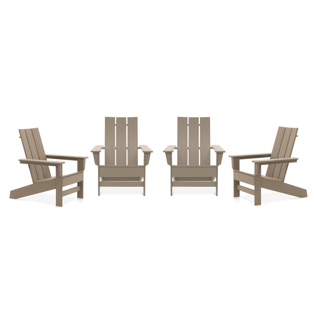 Aria Weathered Wood Recycled Plastic Modern Adirondack Chair (4-Pack)