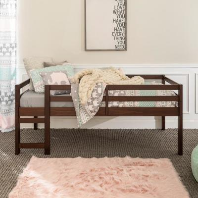 Traditional Solid Wood Open Storage Low Twin Loft Bed - Walnut