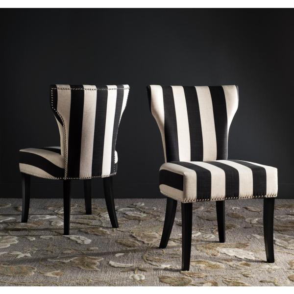 Safavieh Jappic Black/White/Espresso 22 in. H Side Chairs (Set of 2)