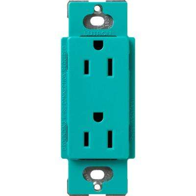 Claro 15 Amp Duplex Outlet, Turquoise