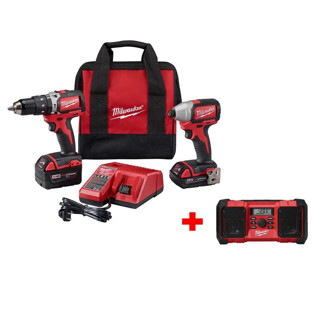M18 18-Volt Lithium-Ion Brushless Cordless Compact Hammer Drill/Impact Combo Kit