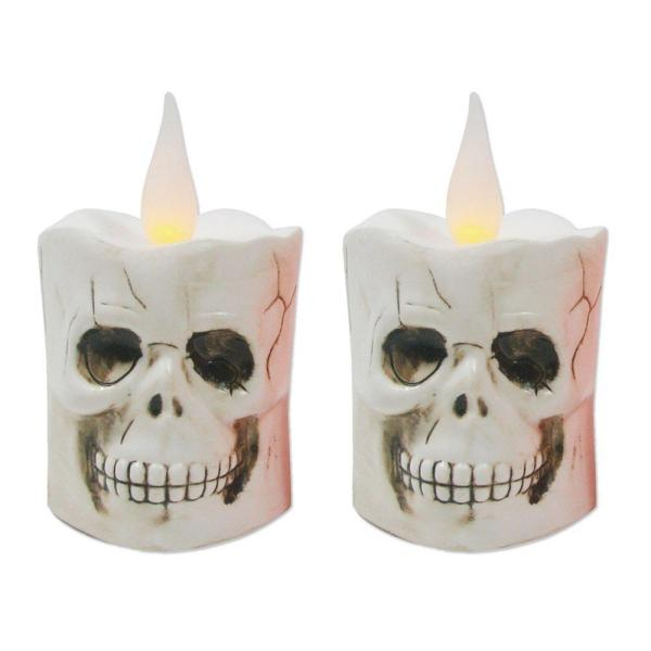 5.5 in. LED Battery Operated White Candle - Skull (Set of 2)