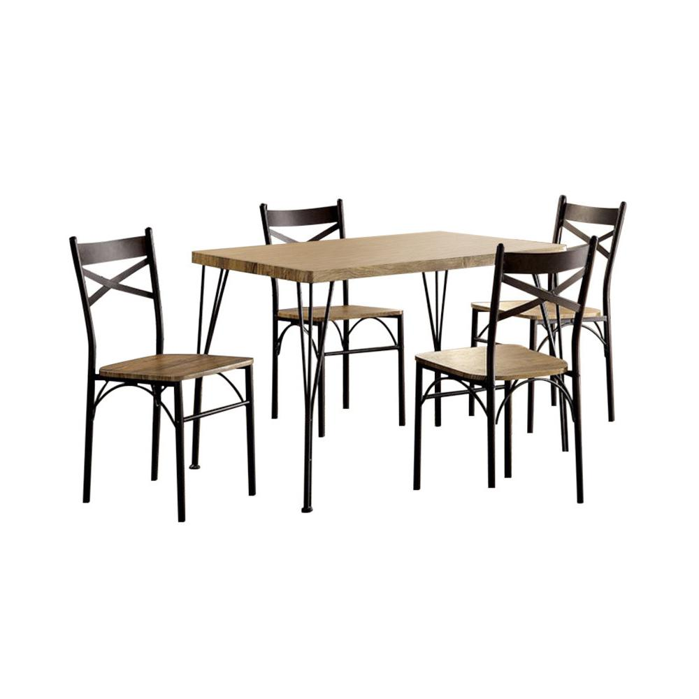 Benzara Brown Wood And Metal Industrial Style 5 Piece Dining Table