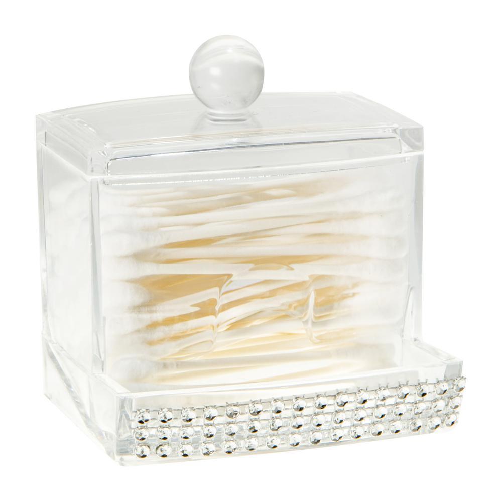 3.54 in. x 3.15 in. x 3.74 in. Q-Tip Box in Pave Diamond Design