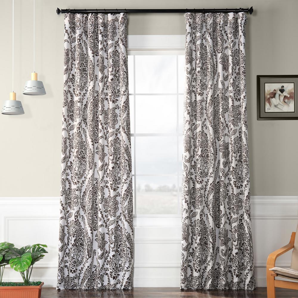 Tea Time Ochre Brown Blackout Curtain - 50 in. W x 108 in. L