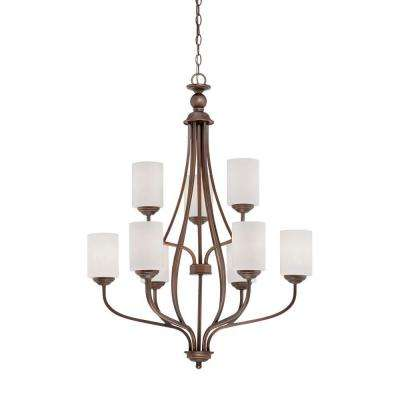 9-Light Brushed Pewter Chandelier with Etched White Glass