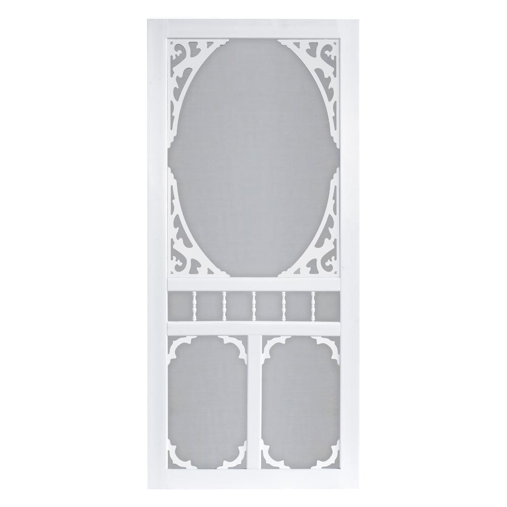 36 in. x 80 in. Charlestowne Solid Vinyl White Screen Door