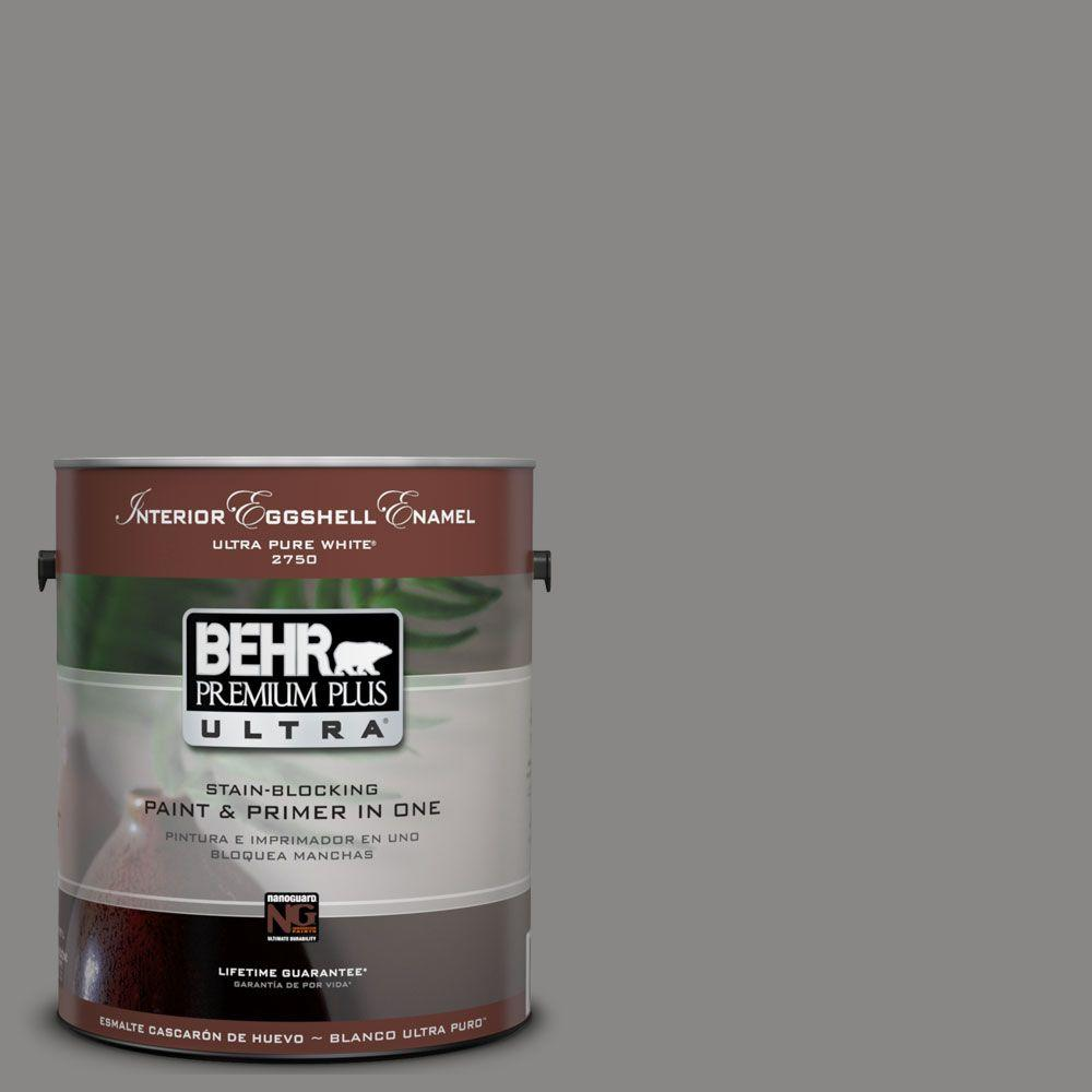 BEHR Premium Plus Ultra 1-Gal. #UL260-4 Pewter Ring Interior Eggshell Enamel Paint