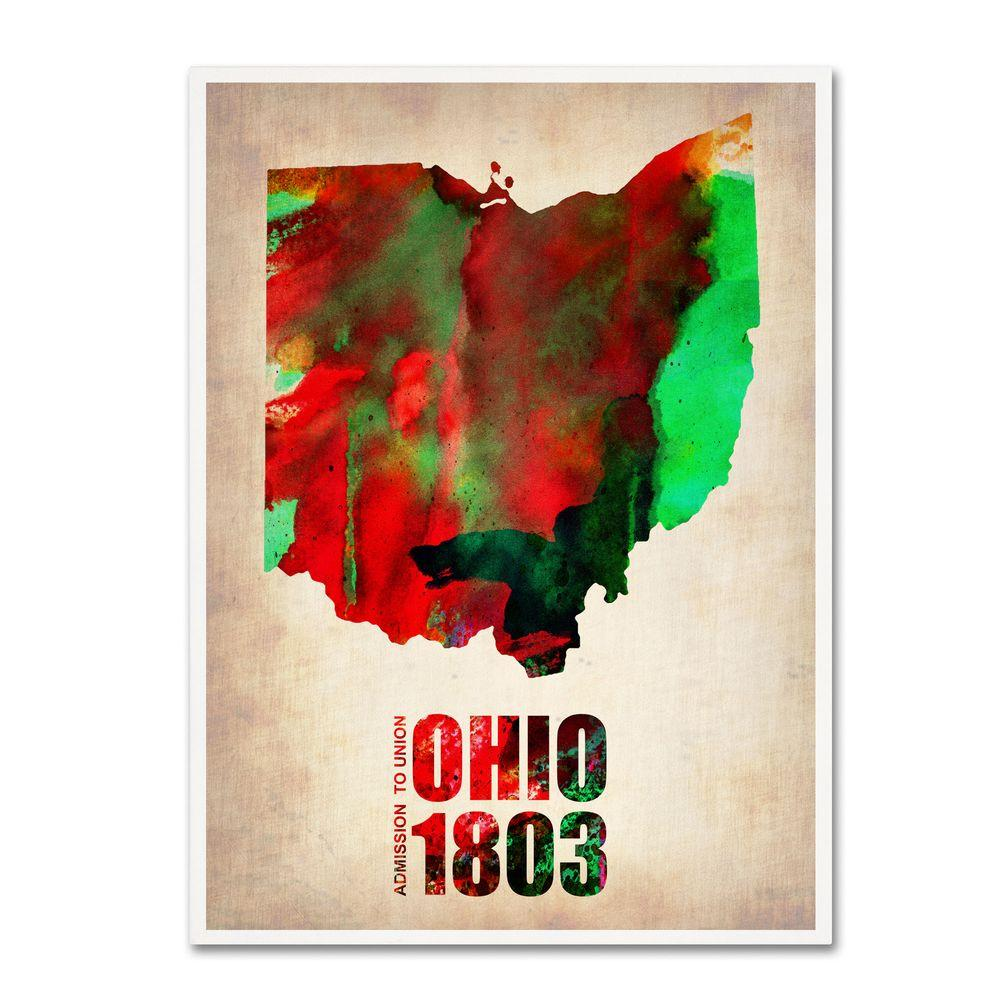 32 in. x 24 in. Ohio Watercolor Map Canvas Art