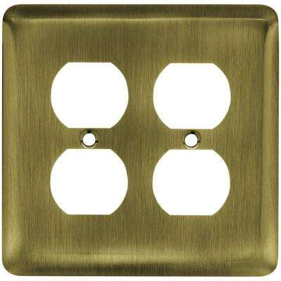 Stamped Round Decorative Double Duplex Outlet Cover, Antique Brass
