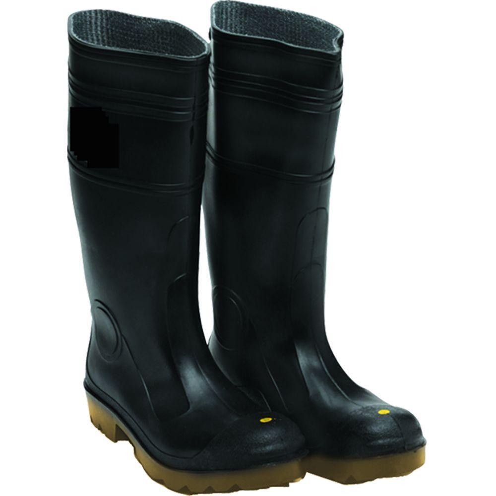 null Men Size 9 Black PVC Over-the-Foot Plain Toe Boot