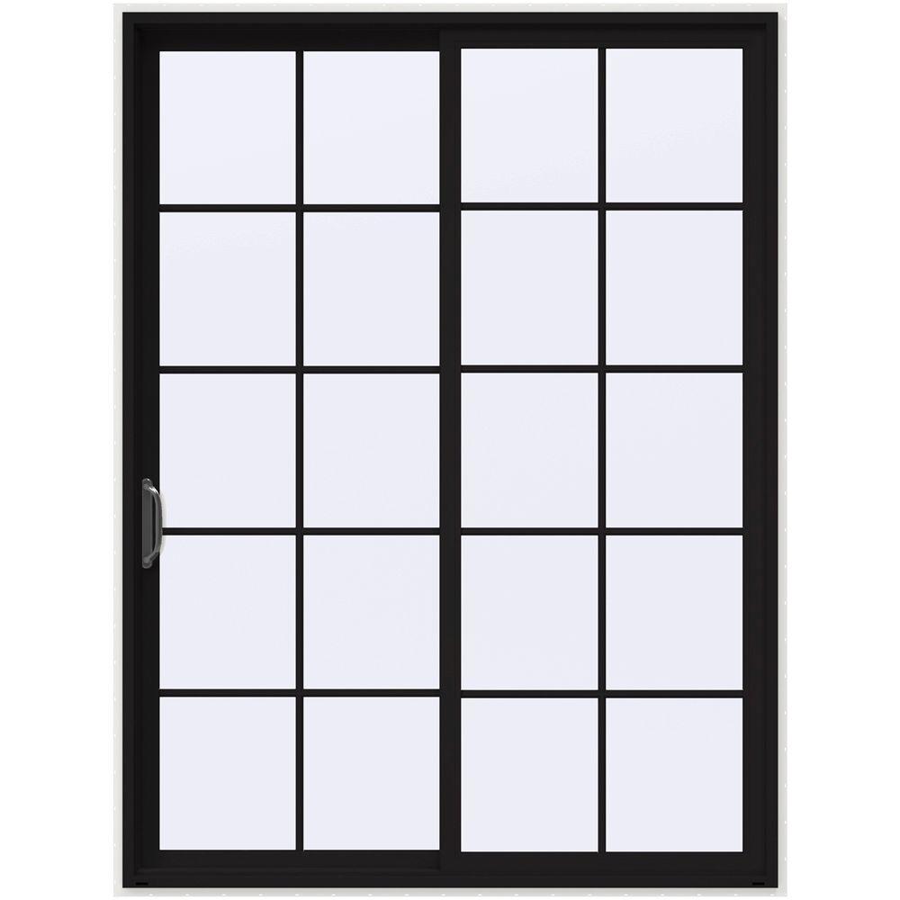 72 in. x 96 in. V-4500 Black Prehung Left-Hand Sliding 10 Lite Vinyl Patio Door with White Interior