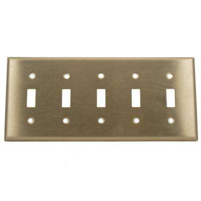 5-Gang 5-Toggle Standard Size Wall Plate, Stainless Steel