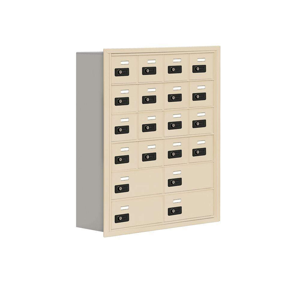 Salsbury Industries 19000 Series 30.5 in. W x 36.5 in. H x 8.75 in. D 16 A/4 B Doors R-Mount Resettable Locks Cell Phone Locker in Sandstone