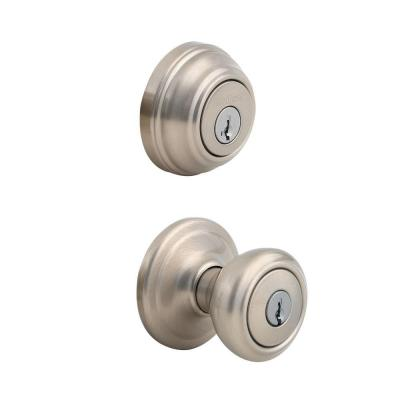 Cameron Satin Nickel Exterior Entry Door Knob and Single Cylinder Deadbolt Combo Pack Featuring SmartKey Security
