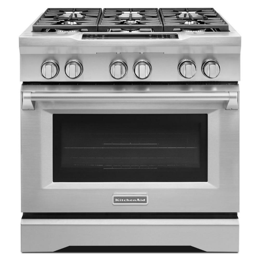 KitchenAid Commercial-Style 36 in. 5.1 cu. ft. Slide-In Dual Fuel Range with Self-Cleaning True Convection Oven in Stainless Steel