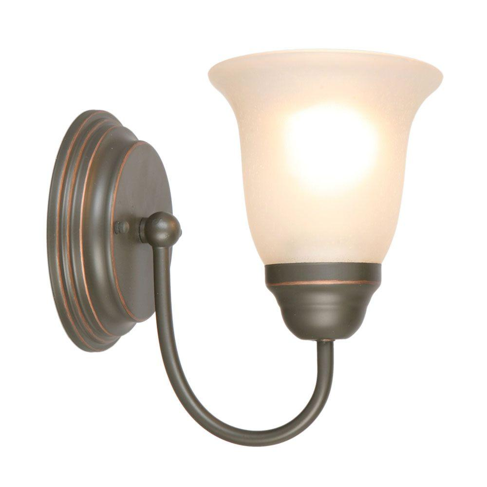 Hampton Bay 1 Light Oil Rubbed Bronze Sconce With Tea Stained Gl Shade
