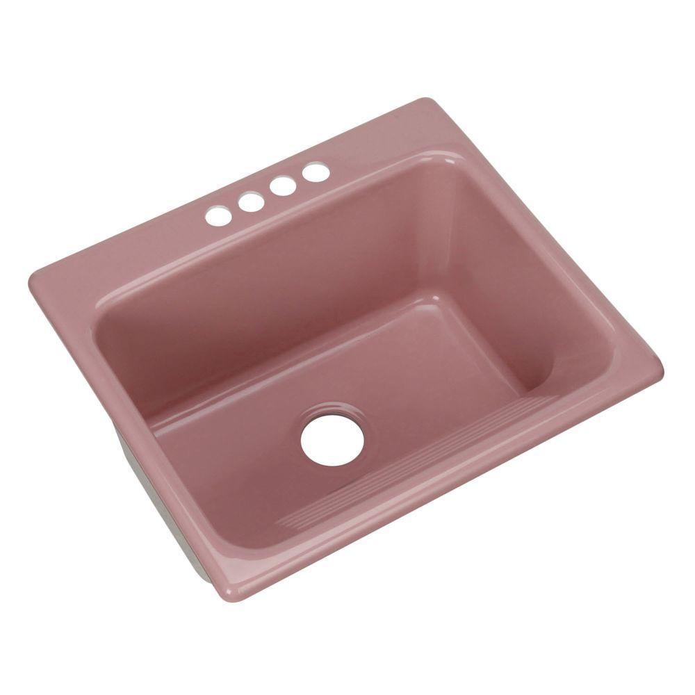 Thermocast Kensington Drop-In Acrylic 25 in. 4-Hole Single Bowl Utility Sink in Dusty Rose