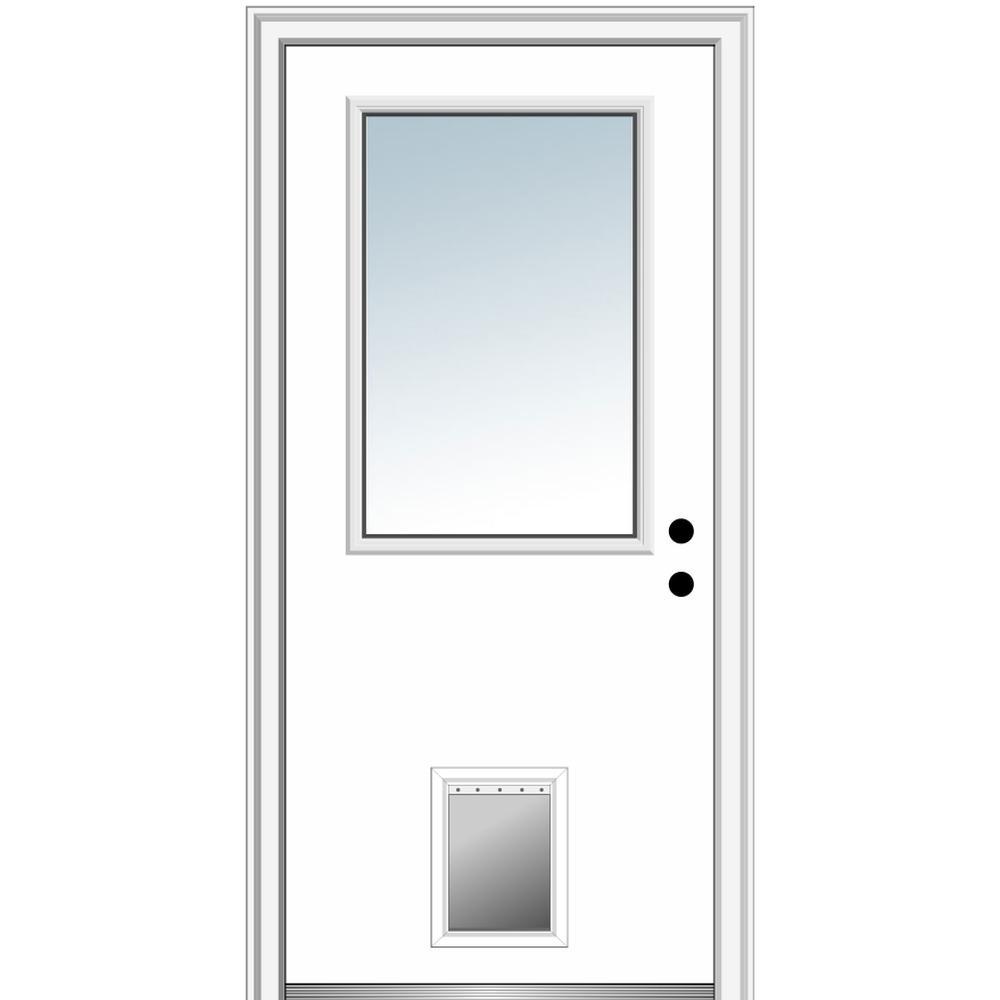 32 in. x 80 in. Classic Left-Hand Inswing 1/2-Lite Clear Primed Fiberglass Smooth Prehung Front Door with Pet Door