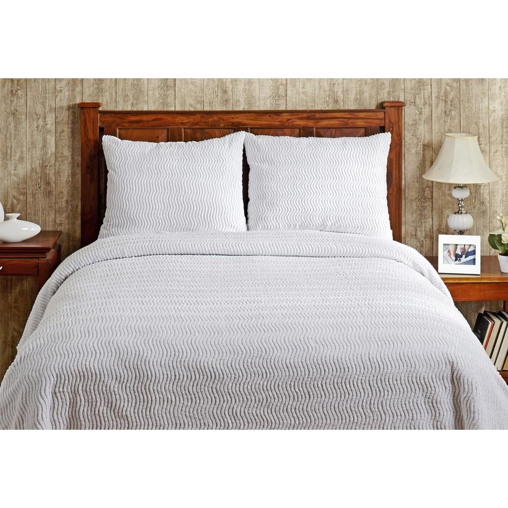 Better Trends Natick Chenille 1-Piece White Queen Bedspread SS-BSNAQUWH