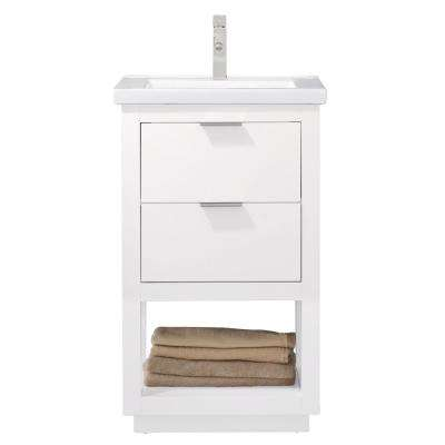 Klein 20 in. W x 15 in. D Bath Vanity in White with Porcelain Vanity Top in White with White Basin