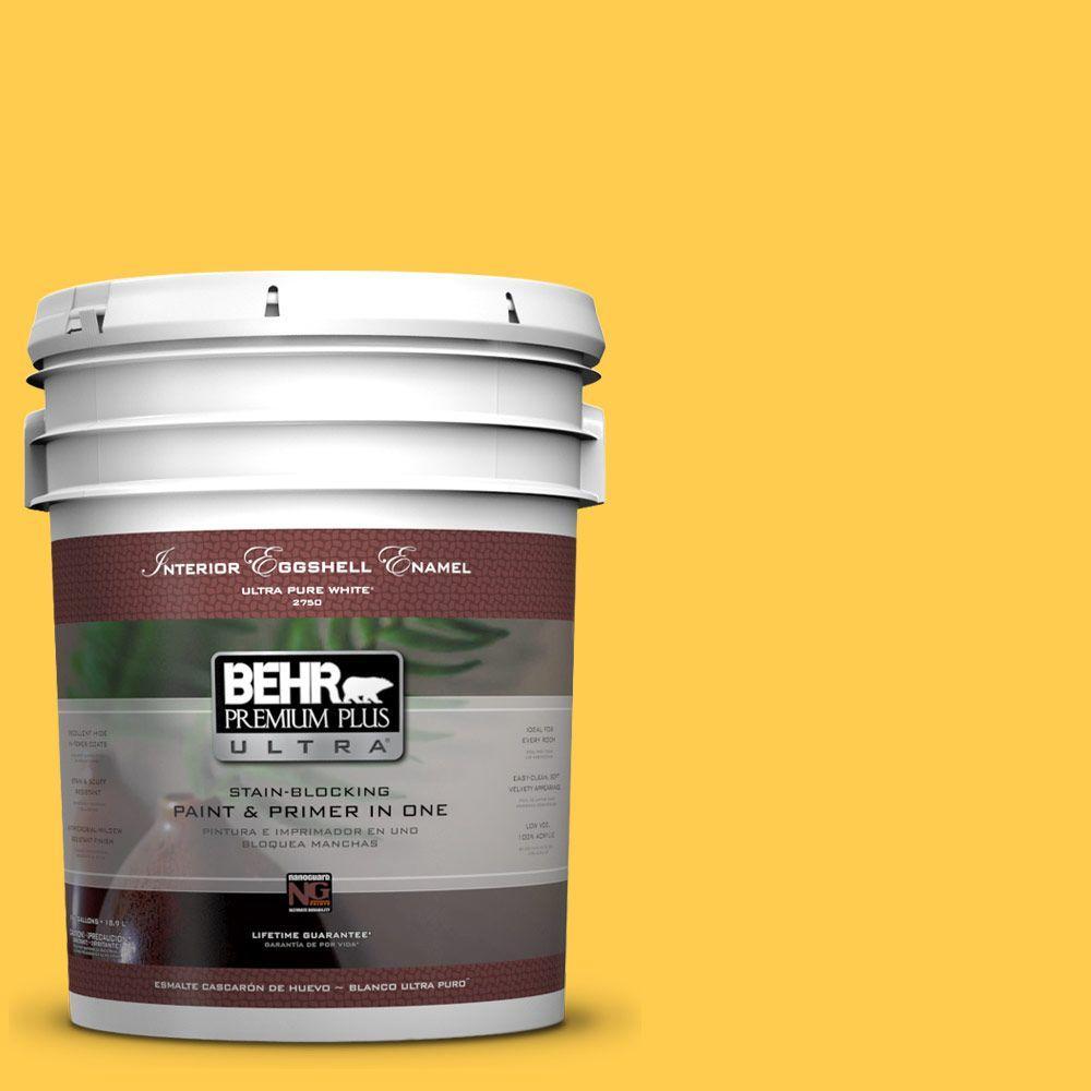 5 gal. #340B-6 Pineapple Soda Eggshell Enamel Interior Paint and Primer