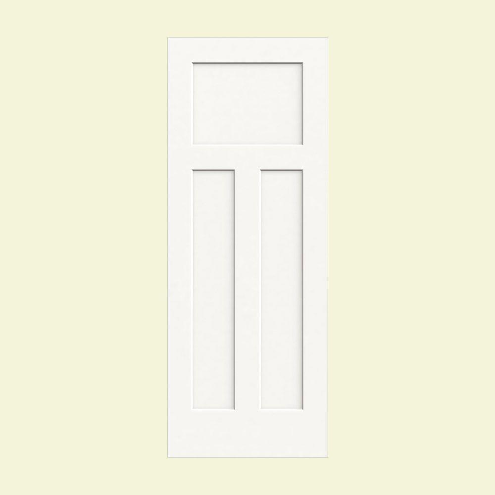 28 in. x 80 in. Craftsman White Painted Smooth Solid Core