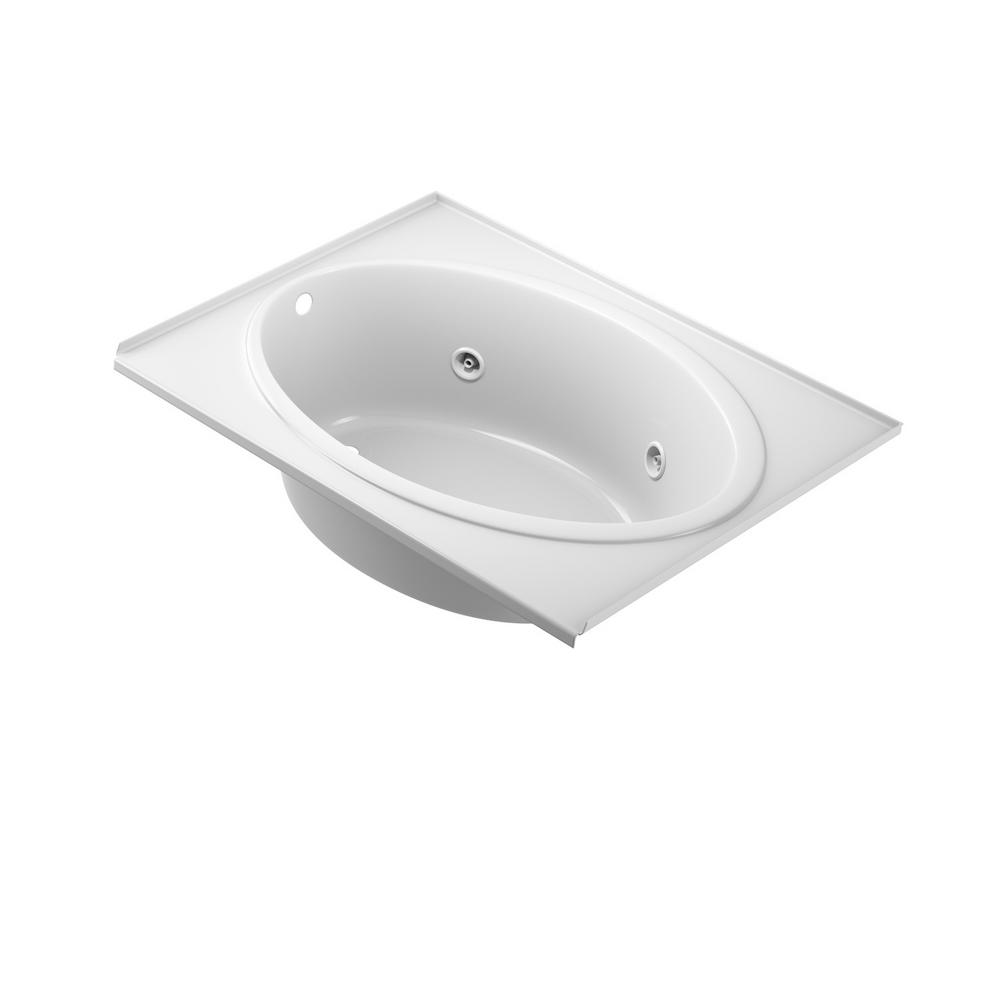 Jacuzzi Nova 60 In X 42 In Acrylic Left Hand Drain Rectangular Drop In Whirlpool Bathtub In White With Tile Flange Not6042wlr2xxw The Home Depot