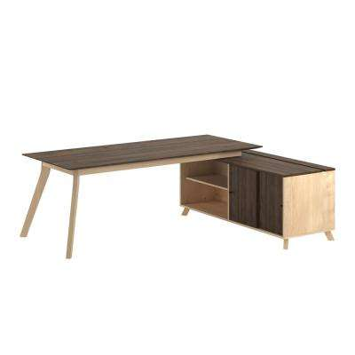AX1 L-Shape Walnut Desk, Mobile File and Storage Cabinet Bundle