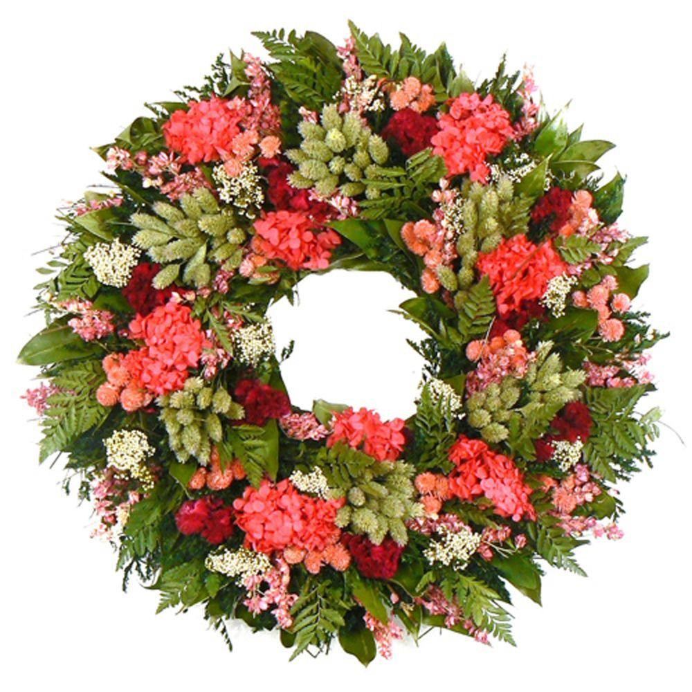 The Christmas Tree Company Zinnia Festival 22 in. Dried Floral Wreath